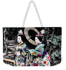 1870 Two Geisha Girls Under Umbrella Weekender Tote Bag by Historic Image