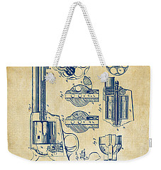 Weekender Tote Bag featuring the digital art 1875 Colt Peacemaker Revolver Patent Vintage by Nikki Marie Smith