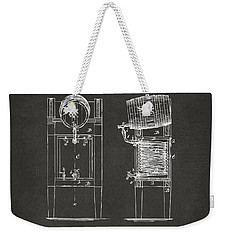 1876 Beer Keg Cooler Patent Artwork - Gray Weekender Tote Bag