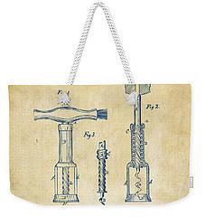 1876 Wine Corkscrews Patent Artwork - Vintage Weekender Tote Bag by Nikki Marie Smith