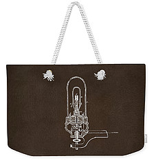 Weekender Tote Bag featuring the drawing 1880 Edison Electric Lights Patent Artwork Espresso by Nikki Marie Smith