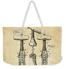 1883 Wine Corckscrew Patent Art - Vintage Black Weekender Tote Bag