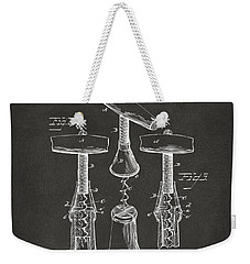 1883 Wine Corckscrew Patent Artwork - Gray Weekender Tote Bag