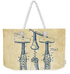 1883 Wine Corckscrew Patent Artwork - Vintage Weekender Tote Bag by Nikki Marie Smith