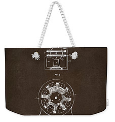 Weekender Tote Bag featuring the drawing 1890 Tesla Motor Patent Espresso by Nikki Marie Smith