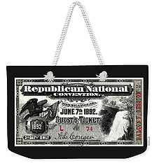 1892 Republican Convention Ticket Weekender Tote Bag by Historic Image