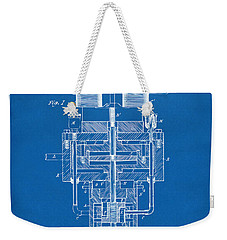 Weekender Tote Bag featuring the drawing 1894 Tesla Electric Generator Patent Blueprint by Nikki Marie Smith