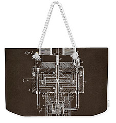 Weekender Tote Bag featuring the drawing 1894 Tesla Electric Generator Patent Espresso by Nikki Marie Smith
