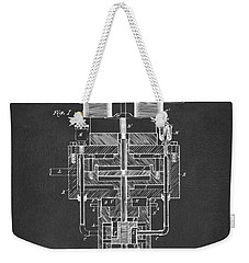 Weekender Tote Bag featuring the drawing 1894 Tesla Electric Generator Patent Gray by Nikki Marie Smith