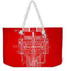 Weekender Tote Bag featuring the drawing 1894 Tesla Electric Generator Patent Red by Nikki Marie Smith