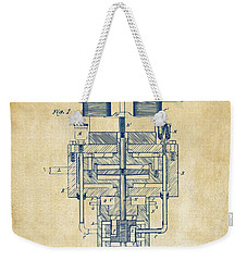 Weekender Tote Bag featuring the drawing 1894 Tesla Electric Generator Patent Vintage by Nikki Marie Smith
