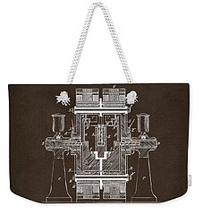 Weekender Tote Bag featuring the drawing 1898 Tesla Electric Circuit Patent Artwork Espresso by Nikki Marie Smith