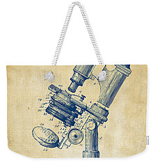 Weekender Tote Bag featuring the digital art 1899 Microscope Patent Vintage by Nikki Marie Smith