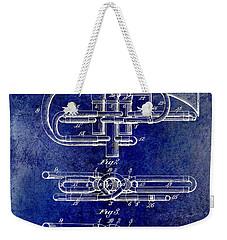 1901 Wind Musical Instrument Patent Drawing Blue Weekender Tote Bag