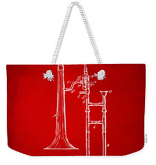 1902 Slide Trombone Patent Artwork Red Weekender Tote Bag by Nikki Marie Smith