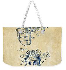 1904 Baseball Catchers Mask Patent Artwork - Vintage Weekender Tote Bag
