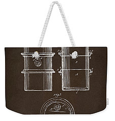 Weekender Tote Bag featuring the drawing 1905 Oil Drum Patent Artwork Espresso by Nikki Marie Smith