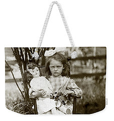 1905 Portrait Of A Cranky Girl Weekender Tote Bag by Historic Image