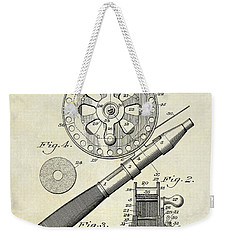 1906 Fishing Reel Patent Drawing Weekender Tote Bag by Jon Neidert