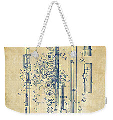 Weekender Tote Bag featuring the digital art 1908 Flute Patent - Vintage by Nikki Marie Smith