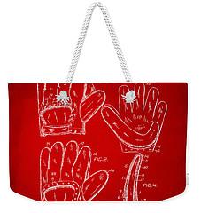 1910 Baseball Glove Patent Artwork Red Weekender Tote Bag