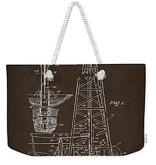 Weekender Tote Bag featuring the drawing 1911 Oil Drilling Rig Patent Artwork - Espresso by Nikki Marie Smith