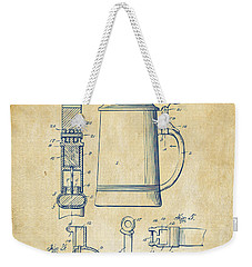 1914 Beer Stein Patent Artwork - Vintage Weekender Tote Bag by Nikki Marie Smith