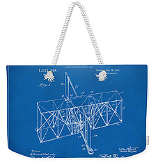 Weekender Tote Bag featuring the drawing 1914 Wright Brothers Flying Machine Patent Blueprint by Nikki Marie Smith