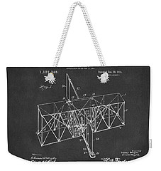 Weekender Tote Bag featuring the drawing 1914 Wright Brothers Flying Machine Patent Gray by Nikki Marie Smith