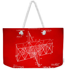Weekender Tote Bag featuring the drawing 1914 Wright Brothers Flying Machine Patent Red by Nikki Marie Smith