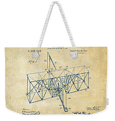 Weekender Tote Bag featuring the drawing 1914 Wright Brothers Flying Machine Patent Vintage by Nikki Marie Smith