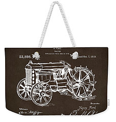 Weekender Tote Bag featuring the drawing 1919 Henry Ford Tractor Patent Espresso by Nikki Marie Smith