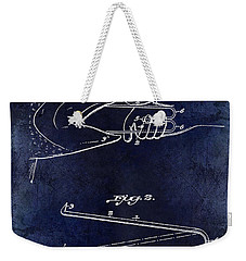 1922 Fish Mouth Opener Patent Drawing Blue Weekender Tote Bag by Jon Neidert