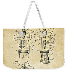1928 Cork Extractor Patent Art - Vintage Black Weekender Tote Bag