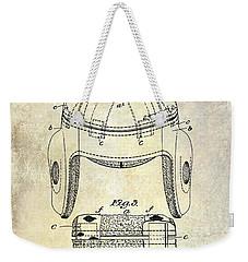 1929 Football Helmet Patent Drawing Weekender Tote Bag by Jon Neidert