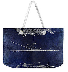 1934 Artificial Fish Lure Patent Drawing Blue Weekender Tote Bag by Jon Neidert