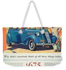 1936 - Nash Sedan Automobile Advertisement - Color Weekender Tote Bag