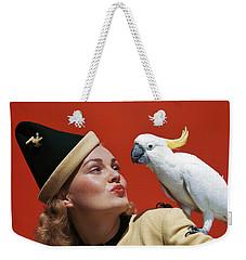 1940s Glamorous Blond Woman Talking Weekender Tote Bag