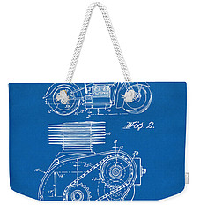 1941 Indian Motorcycle Patent Artwork - Blueprint Weekender Tote Bag by Nikki Marie Smith