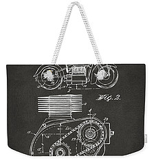 1941 Indian Motorcycle Patent Artwork - Gray Weekender Tote Bag by Nikki Marie Smith
