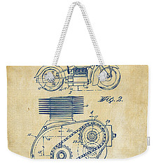 1941 Indian Motorcycle Patent Artwork - Vintage Weekender Tote Bag