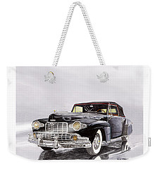 1946 Lincoln Continental Convertible Foggy Reflection Weekender Tote Bag by Jack Pumphrey