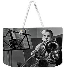 1950s Funny Cross-eyed Boy Playing Weekender Tote Bag