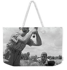 1950s Grandfather At Bat With Grandson Weekender Tote Bag