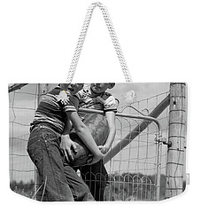1950s Two Farm Boys In Striped T-shirts Weekender Tote Bag