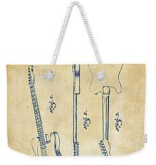 1951 Fender Electric Guitar Patent Artwork - Vintage Weekender Tote Bag