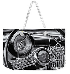 1953 Buick Super Dashboard And Steering Wheel Bw Weekender Tote Bag