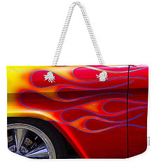 1955 Chevy Pickup With Flames Weekender Tote Bag by Garry Gay