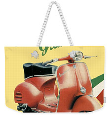 1955 - Vespa Grand Sport Motor Scooter Advertisement - Color Weekender Tote Bag