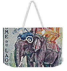 1958 Laos Elephant Stamp Weekender Tote Bag